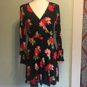TOPSHOP Black Dress with red floral pattern